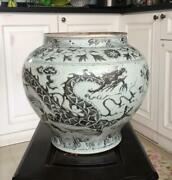 Bigextremely Old Chinese Antique Ming B/w Dragon Porcelain Jar
