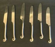 Pier 1 Pii8 Flatware Lily Scroll Dinner Knife 9 1/4 Set Of 6 Stainless