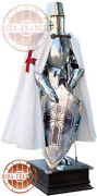 Knights Templar Suit Of Templar With Scottish Red Cross With Wooden Base.