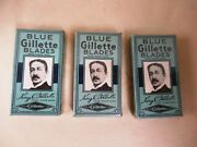 Antique Blue Gillette Blades Advertising Packets With Blades Collectibles Raref