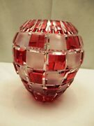 Art Deco Red Over Crystal Heavy Cut Glass Vase Vintage Frosted Square Design