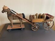 19th Century Milk Wagon With Mohair Covered Horse With Metal Cans