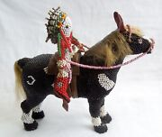 1950s Zuni Beaded Horse And Rider Exceptional7-inch Large Horsehairfree Ship