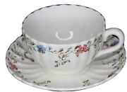 Spode Wicker Dale Earthenware Cup And Saucer Embossed Scalloped England