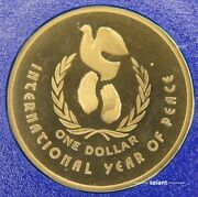 1986 1 Proof Year Of Peace Australian One Dollar Coin From Proof Set Unc Ram