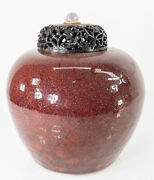 Antique Chinese Flambe Iron Rust Red Glazed Ginger Jar Vase Wood Cover