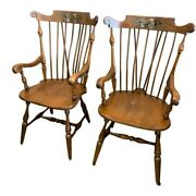 Ethan Allen Heirloom Fruit Stencil Arrow Back Solid Wood Arm Chairs Set Of 2
