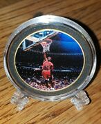 Michael Jordan 24kt Gold Plated Coin With Capsule And Plastic Stand Brand New