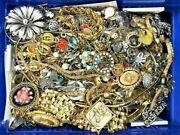 Full 5 + Pounds Vintage Now Jewelry Junk Craft Box Brooch Necklace More Huge Lot