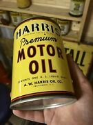 Rare Original Harris Oil Can Metal Motor Oil Can Gas Sign Unopened And Full