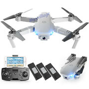 Fpv Wifi Rc Drone Wide Angle Hd 4k Camera Foldable Quadcopter Selfie + 3 Battery