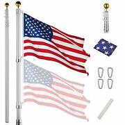 30 Ft Telescopic Flag Pole Kit 16 Gauge Aluminum Flagpole 3and039x5and039 Us 30ft Silver
