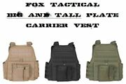 Big And Tall 2xl/3xl Adjustable Molle Tactical Plate Carrier Vest - Swat Black