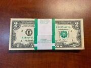 2013 Uncirculated 2 Two Dollar Bep Pack Of 100 Consecutive Notes - Free Ship Us