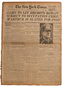 Wwii August 1945 ''new York Times'' Newspaper Hirohito