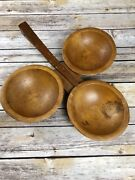 Unique Vintage Woodcroftery 3 Piece Bowl With Handle Wooden Serving Tray Rare