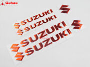 6pcs 3d Chromed Red Fuel Tank Fairing Emblem Badges Decal For Suzuki Motorcycle