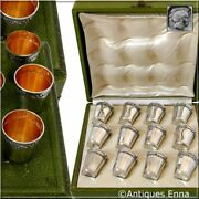 Antique French Sterling Silver 18k Gold Liquor Cups 12 Pieces, Original Box