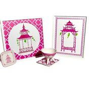 Pagota Chic Collection Hot Pink And White Gazebo Wall Decor Ceramic Dish And Plates
