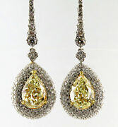 5ct Pear Cut Yellow Sapphire Diamond Halo Water Drop Earring 14k White Gold Over