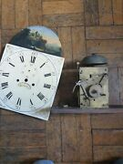 Antique Grandfather Clock Movement + Dial Arch Top Weight Driven Brass Case