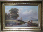 Antique 19th Century Pastoral Landscape Oil Painting Mexican American Texas Old