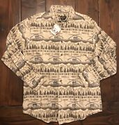 New Mens Woolrich Woven Fishing Shirt Trout Creel Rod 100 Cotton Nwt Large