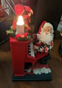 1993 Holiday Creations Musical Light Up Santa Piano Cassette Tape Player Works