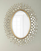 Oval Sun Ray Wall Mirror Antique Gold Iron Wood 34.5 W X 44.3 T