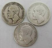 Sweden 1 Krona Lot 1875 1876 1898 Rare, Old Silver Coins Silver Investment