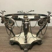 Pairpoint Buck Deer Head Acorn Finial Silverplate Chain Footed Bowl Stand