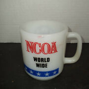 Vtg Ncoa Non Commissioned Officers Member Awards Milk Glass Coffee Tea Mug Cup