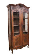 French Provincial Louis Xv Bookcase Or Display Cabinet Oak Turn Of Century