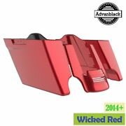 Wicked Red Stretched Saddlebags Extended Bag Rear Fender For 14+ Harley Touring