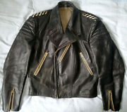 Rare Old German 40s Motorcycle Luftwaffe Cyclist Leather Jacket Opti Ruhr Zip, S