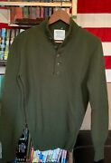 Vintage 70s Us Army Military Wool High Neck 5 Button Uniform Sweater.