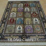 Yilong 4and039x6and039 Handknotted Silk Area Rug Oriental Garden Four Seasons Carpet 0688