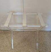 Vintage Mcm Hollywood Regency Lucite Acrylic Luggage Rack Stand Table Clear