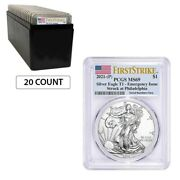 Lot Of 20 - 2021 P 1 Oz Silver American Eagle Pcgs Ms 69 Fs Emergency Issue