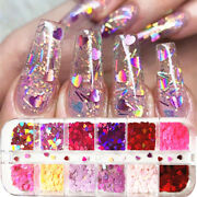 12 Grids Heart Nail Glitter Flakes 3d Sweet Sequins Valentineand039s Day Decoration