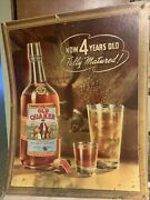 Antique 1939 Old Quaker Whiskey Large Heavy Cardboard Adv Sign 33 X 27 Vintage