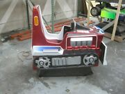 Antique Coin Operated Bulldozer Kiddie Ride Red And Blue Amusement Ride