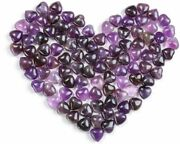 Healing Crystal Pocket Heart Natural Amethyst Love Puff Heart Carved Shape Palm