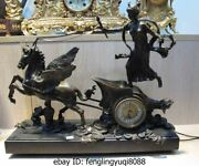 Western Art Copper Bronze Marble Base Mars Carriage Mechanical Clock Timepiece
