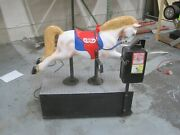 Horse Coin Operated Ride Kiddie Amusement Mall Collectible Antique White And Red