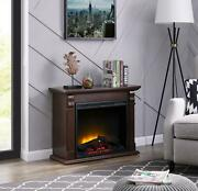 Electric Fireplace Heater Room Led Mantle Chestnut Wooden Remote Control Timer
