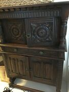 Antique Carved Mediterranean French Oak Cabinet Cupboard