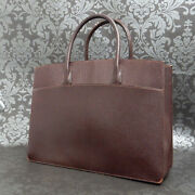 Rise-on Vintage Hermes White Bus 39 Gm Vache Leather Brown Tote Bag 241