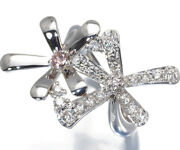 Pink And Clear Diamond Ring Flower 0.102ct 0.51ct Pt900