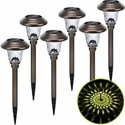 Solar Pathway Lights Outdoor 6 Pack Metal Glass Garden Led Stainless Steel For